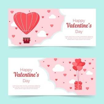 Flat lovely valentine's day banners set