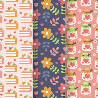 Flat lovely valentine's day pattern collection