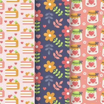 편평한 사랑스러운 발렌타인 패턴 컬렉션