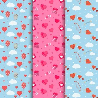 평면 사랑스러운 발렌타인 데이 패턴 팩