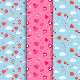 Flat lovely valentine's day pattern pack