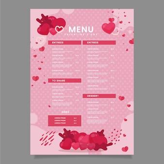 Плоский прекрасный шаблон меню ресторана на день святого валентина