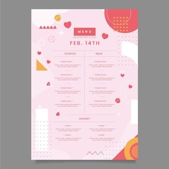 Плоский прекрасный день святого валентина меню ресторана