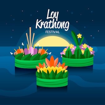 Flat loy krathong illustration