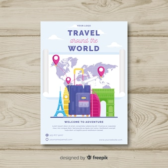 Flat luggage travel poster template