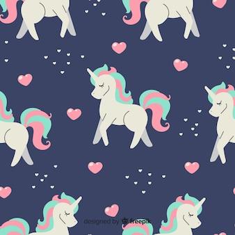 Flat magical unicorn fantasy pattern