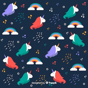 Flat magical unicorn fantasy pattern