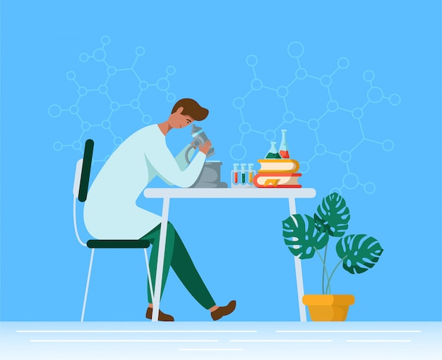 Flat male character in chemical or medical laboratory, doctor or scientist with microscope in lab