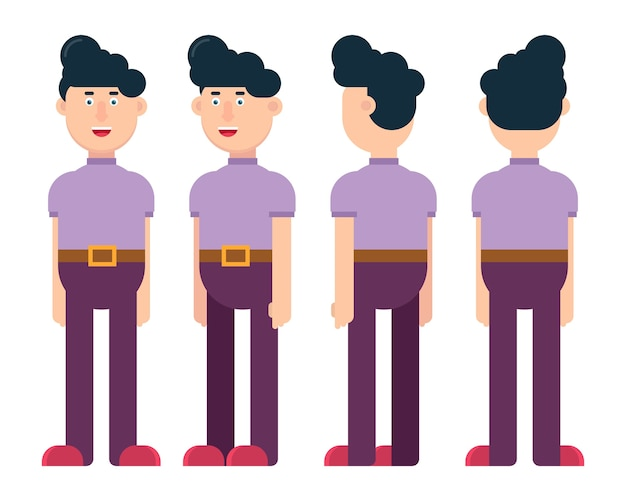Flat male character in different positions  illustration