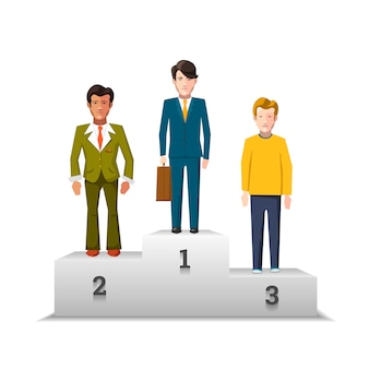 Flat male characters on white podium isolated