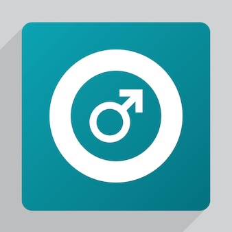 Flat male sign icon, white on green background