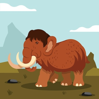 Flat mammoth cartoon illustration