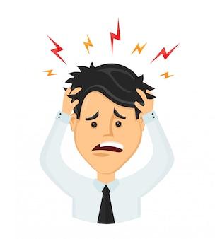 頭痛、思いやりの疲労、頭の病気、彼の頭を保持しているオフィスワーカーの平らな男実業家。片頭痛、健康上の問題、頭痛、ストレス、疲れ、苦しみ、感情