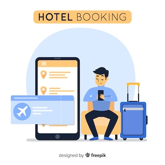 Flat man hotel booking background