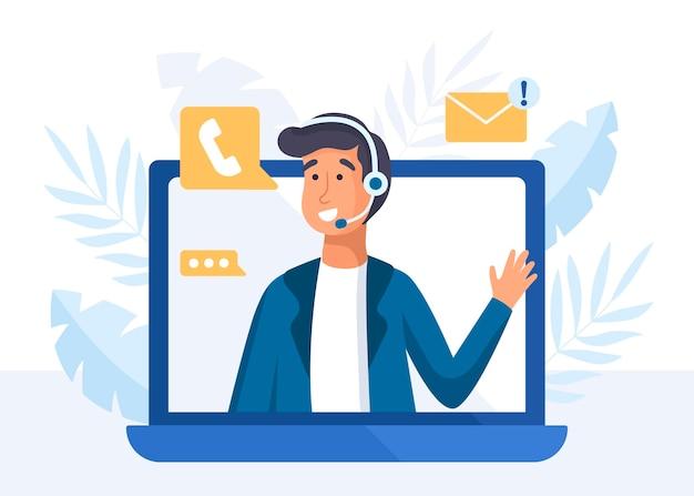 Flat man illustration customer support