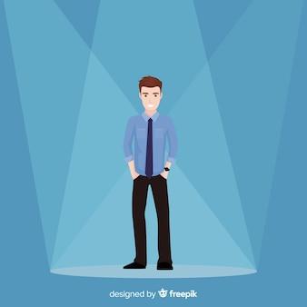 Flat man looking talent background