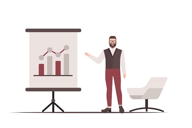 Плоский человек, представляя бизнес-карт. бизнес-концепция