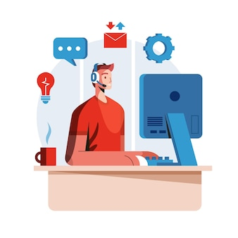 Flat man working in customer support Free Vector