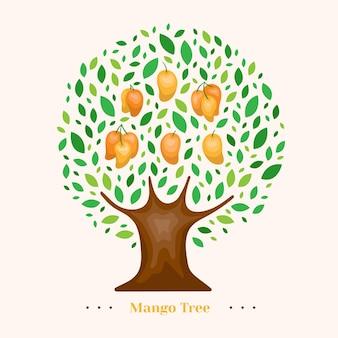 Illustrazione dell'albero di mango piatto
