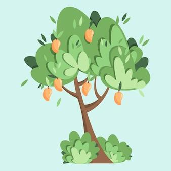 Плоская иллюстрация дерева манго