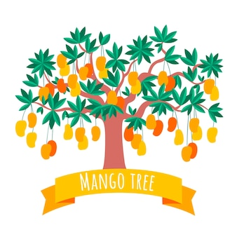 Flat mango tree illustration