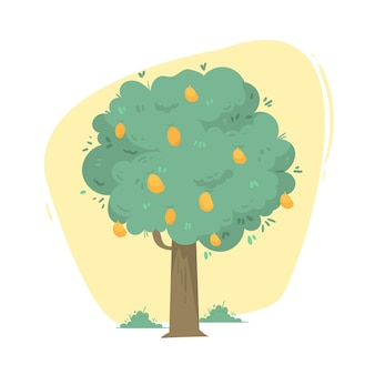 Flat mango tree with fruits and leaves illustrated