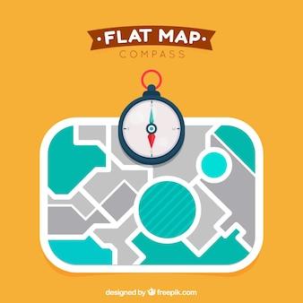 フラットマップのコンパスの背景