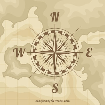 Flat map compass background