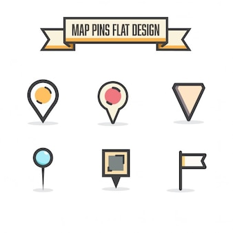 Flat map icons