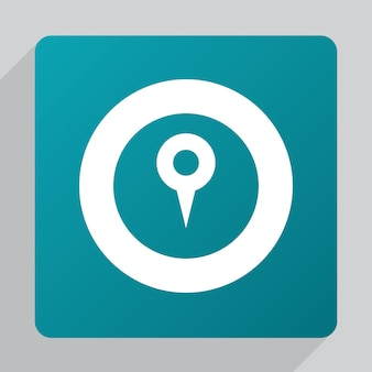 Flat map pin icon, white on green background