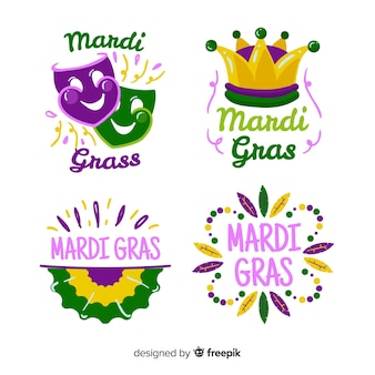 Flat mardi gras badge collection
