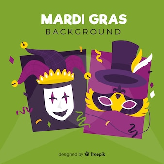 Flat mardi gras carnival background