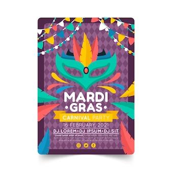 Flat mardi gras flyer template