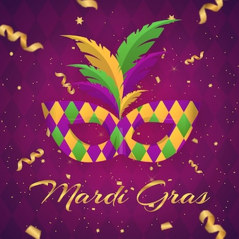 Flat mardi gras lettering with mask illustration
