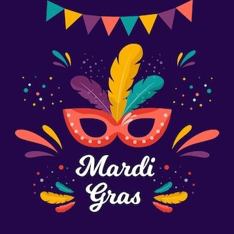 Flat mardi gras lettering