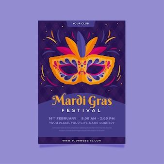 Flat mardi gras poster template