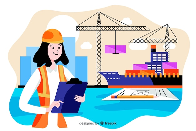 Flat marine engineering concept background