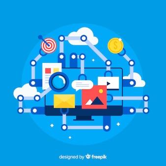 Flat marketing automation background