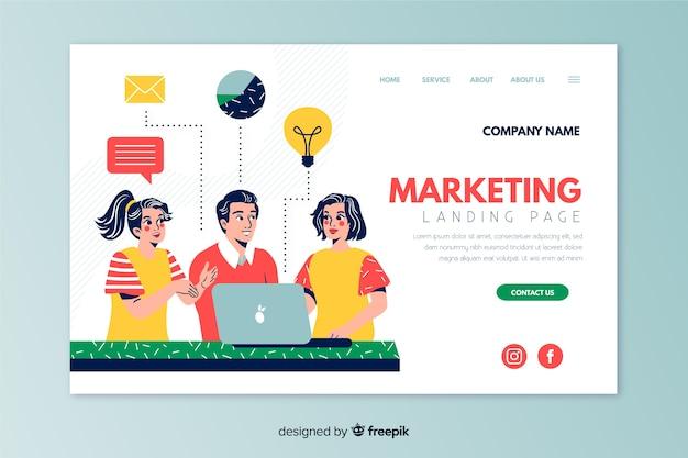 Flat marketing landing page template