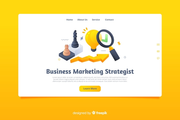 Flat marketing landing page template