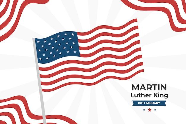 アメリカ国旗とフラットマーティンルーサーキングの背景