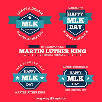 Flat martin luther king day badges with blue ribbons