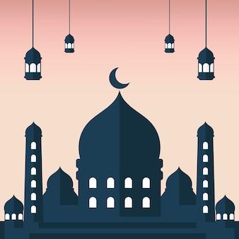 Плоская иллюстрация силуэта masjid с фоном розового неба и силуэтом фонаря