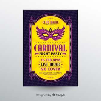 Flat mask carnival party poster