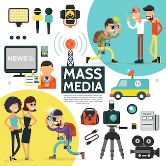 Flat mass media composition with reporter cameras radio tower professional journalist equipment