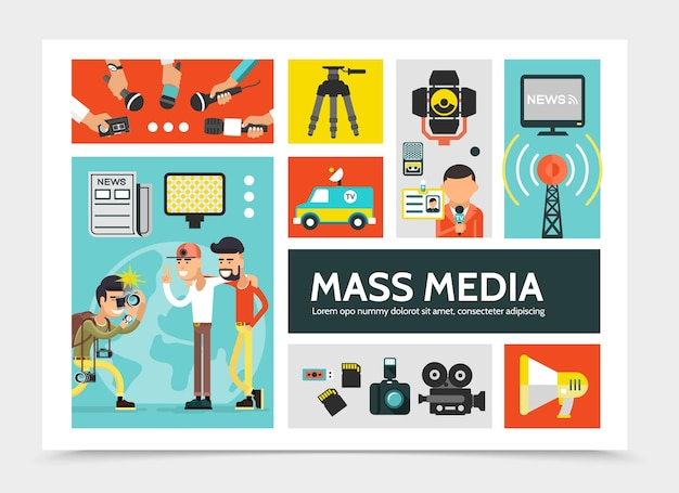 Flat mass media infographic concept with news car radio tower megaphone cameras newspaper
