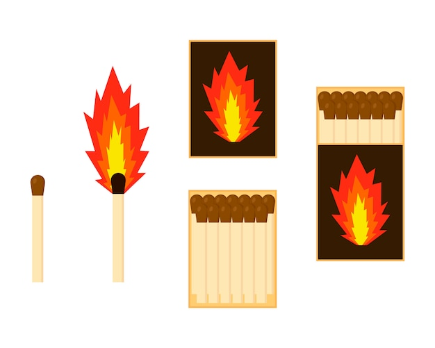 Flat matches set box icon