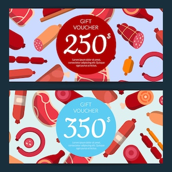 Flat meat and sausages icons discount or gift voucher