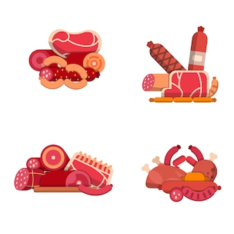 Flat meat and sausages icons piles set isolated on white