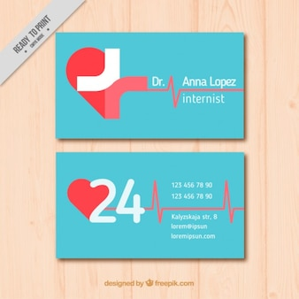 Flat medical card with heart Premium Vector